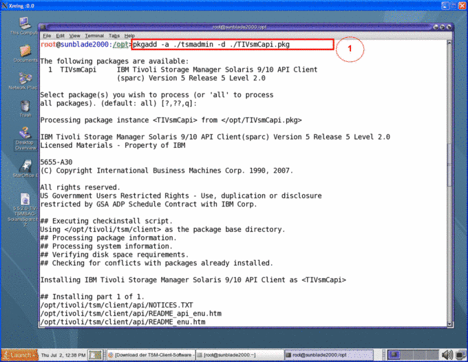 Set up TSM Client using Solaris: Communication, Information